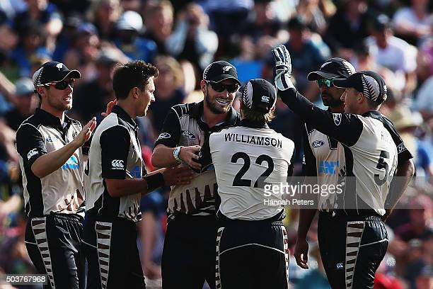 Mitchell McClenaghan of the Black Caps celebrates the wicket of Milinda Siriwardana of Sri Lanka during the Twenty20 match between New Zealand and...