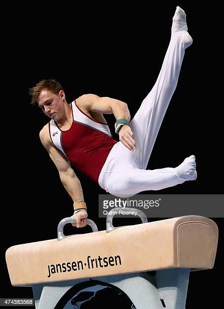 Mitchell Morgans of Queensland competes on the Pommel Horse during the Australian Gymnastic Championships Mens and Womens All Round Final on May 22...