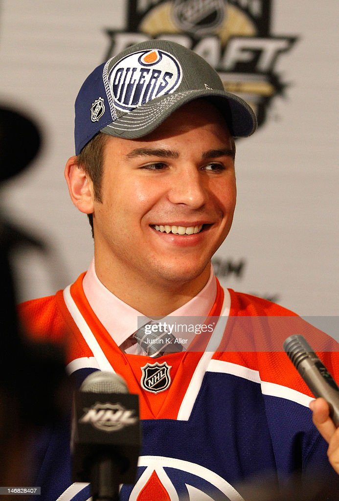 Mitchell Moroz, 32nd overall pick by the Edmonton Oilers, speaks to media during day two of the 2012 NHL Entry Draft at Consol Energy Center on June 23, 2012 in Pittsburgh, Pennsylvania.
