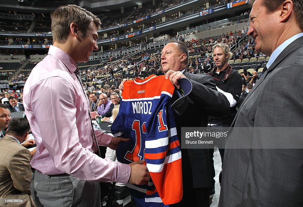 Mitchell Moroz, 32nd overall pick by the Edmonton Oilers,is handed his jersey during day two of the 2012 NHL Entry Draft at Consol Energy Center on June 23, 2012 in Pittsburgh, Pennsylvania.