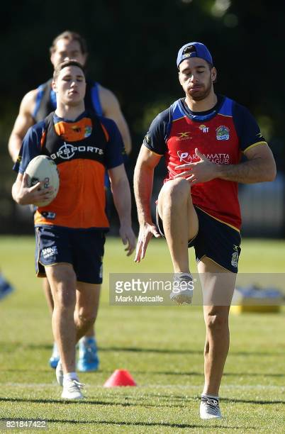 Mitchell Moses and Corey Norman of the Eels run during a Parramatta Eels NRL training session at on July 25 2017 in Sydney Australia
