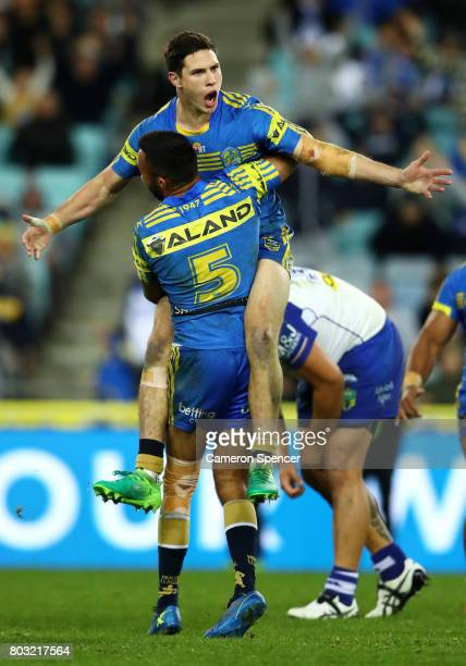 Mitchell Moses of the Eels celebrates kicking the winning field goal in extratime during the round 17 NRL match between the Parramatta Eels and the...