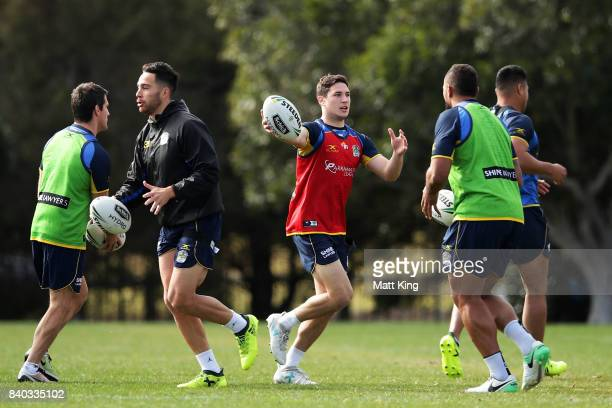 Mitchell Moses of the Eels handles the ball during a Parramatta Eels NRL training session at Old Saleyards Reserve on August 29 2017 in Sydney...