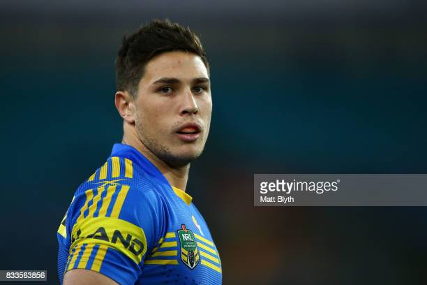 Mitchell Moses of the Eels looks on during the round 24 NRL match between the Parramatta Eels and the Gold Coast Titans at ANZ Stadium on August 17...
