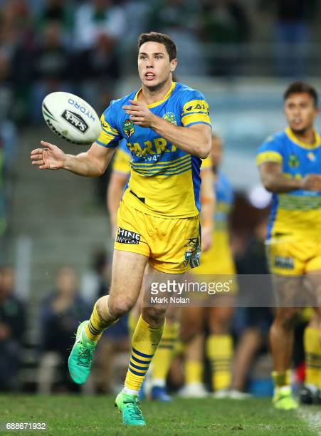Mitchell Moses of the Eels passes during the round 12 NRL match between the South Sydney Rabbitohs and the Parramatta Eels at ANZ Stadium on May 26...