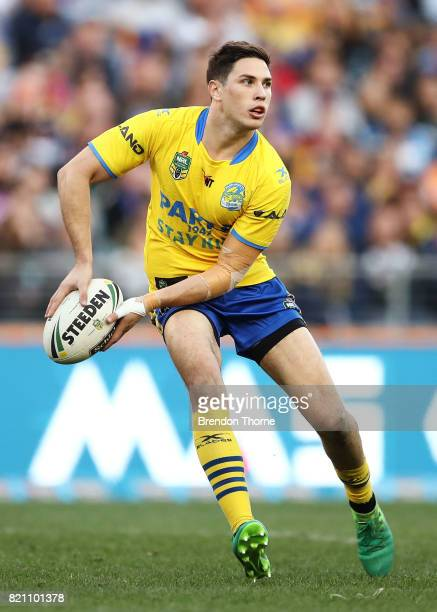 Mitchell Moses of the Eels runs the ball during the round 20 NRL match between the Wests Tigers and the Parramatta Eels at ANZ Stadium on July 23...