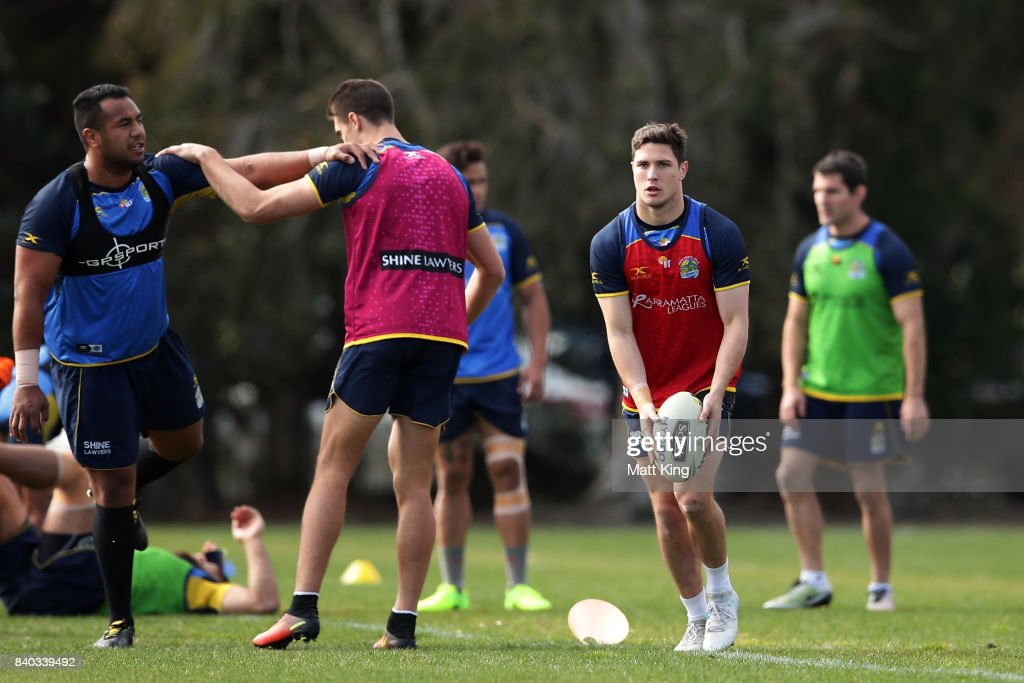 Mitchell Moses of the Eels shapes to kick during a Parramatta Eels NRL training session at Old Saleyards Reserve on August 29, 2017 in Sydney, Australia.