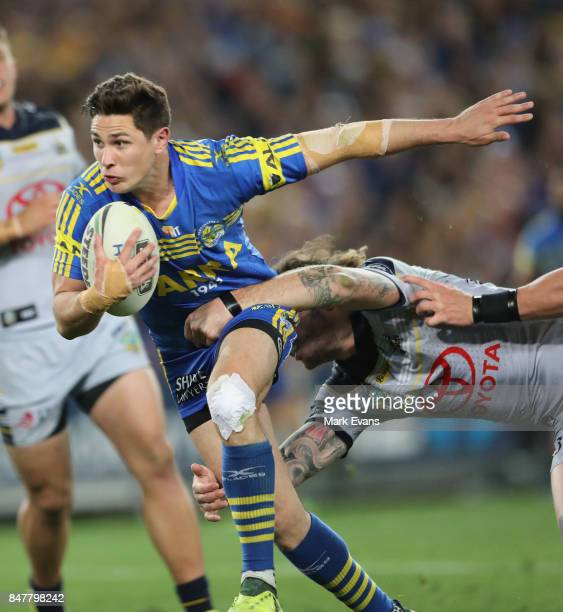 Mitchell Moses of the Eels tackled during the NRL Semi Final match between the Parramatta Eels and the North Queensland Cowboys at ANZ Stadium on...