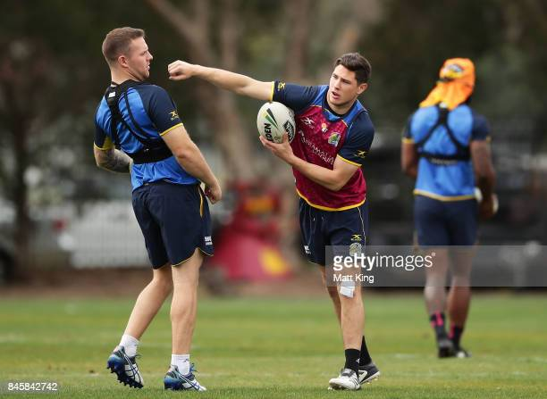 Mitchell Moses of the Eels takes part in a drill with Nathan Brown of the Eels during a Parramatta Eels NRL training session at Old Saleyards Reserve...