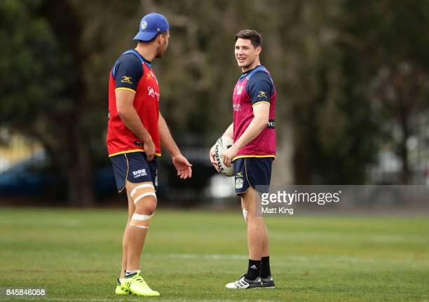 Mitchell Moses of the Eels talks to Corey Norman of the Eels during a Parramatta Eels NRL training session at Old Saleyards Reserve on September 12...