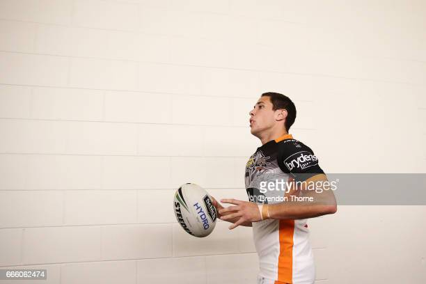 Mitchell Moses of the Tigers leaves the dressing room prior to the round six NRL match between the North Queensland Cowboys and the Wests Tigers at...