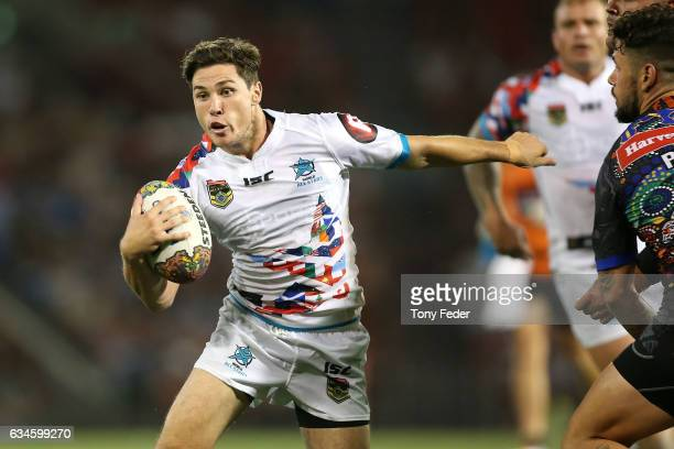 Mitchell Moses of the World All Stars breaks clear with the ball during the NRL All Stars match between the 2017 Harvey Norman All Stars and the NRL...
