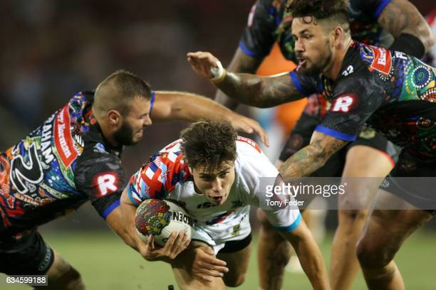 Mitchell Moses of the World All Stars is tackled during the NRL All Stars match between the 2017 Harvey Norman All Stars and the NRL World All Stars...