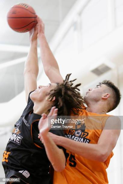 Mitchell Newton and Mate Colina compete for the ball during the NBL Combine 2017/18 at Melbourne Sports and Aquatic Centre on April 18 2017 in...