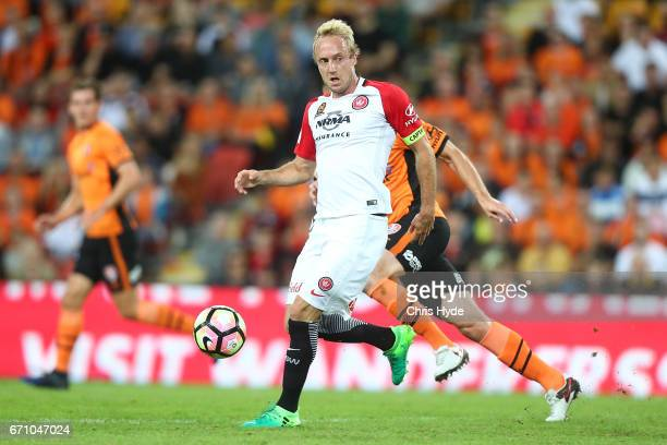 Mitchell Nichols of the Roar kicks during the ALeague Elimination Final match between the Brisbane Roar and the Western Sydney Wanderers at Suncorp...
