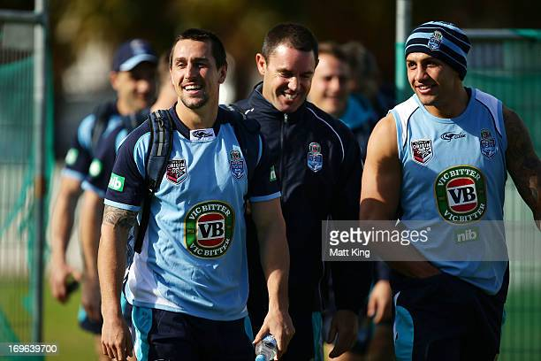 Mitchell Pearce Brad Fittler and Blake Ferguson arrive at a New South Wales Origin training session at Coogee Oval on May 30 2013 in Sydney Australia
