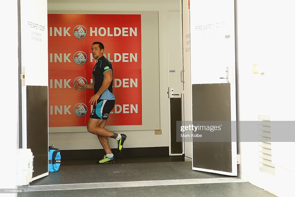 Mitchell Pearce looks out at the field as the Blues warm up inside before a New South Wales Blues State of Origin training session at Suncorp Stadium on June 25, 2013 in Brisbane, Australia.