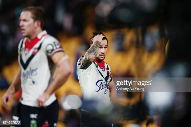 Mitchell Pearce of the Roosters reacts after losing the round nine NRL match between the New Zealand Warriors and the Sydney Roosters at Mt Smart...