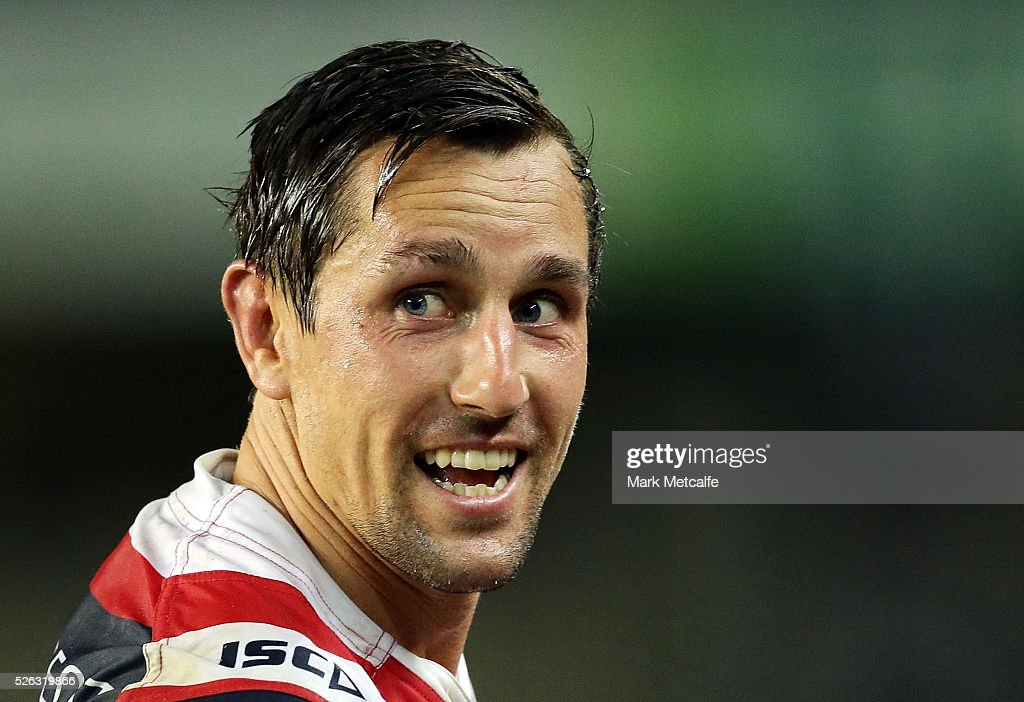 <a gi-track='captionPersonalityLinkClicked' href=/galleries/search?phrase=Mitchell+Pearce&family=editorial&specificpeople=4208962 ng-click='$event.stopPropagation()'>Mitchell Pearce</a> of the Roosters smiles after victory in the round nine NRL match between the Sydney Roosters and the Newcastle Knights at Allianz Stadium on April 30, 2016 in Sydney, Australia.