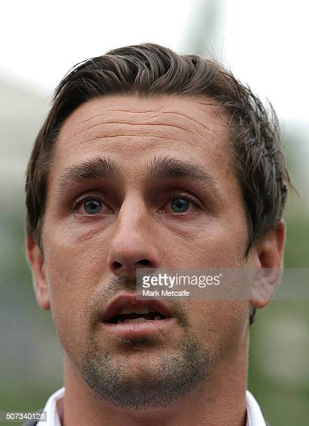 Mitchell Pearce speaks to the media during a press conference held in Surry Hills on January 29 2016 in Sydney Australia