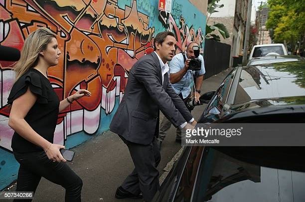 Mitchell Pearce walks from a press conference held in Surry Hills on January 29 2016 in Sydney Australia