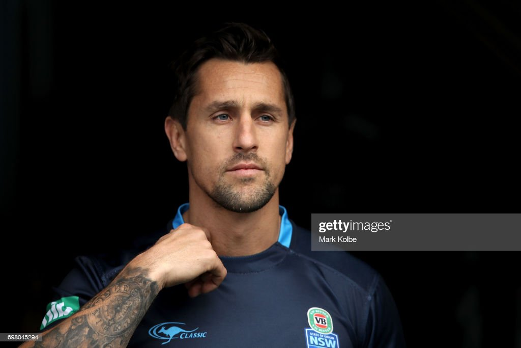 Mitchell Pearce walks out onto the field during a New South Wales Blues State of Origin captain's run at ANZ Stadium on June 20, 2017 in Sydney, Australia.