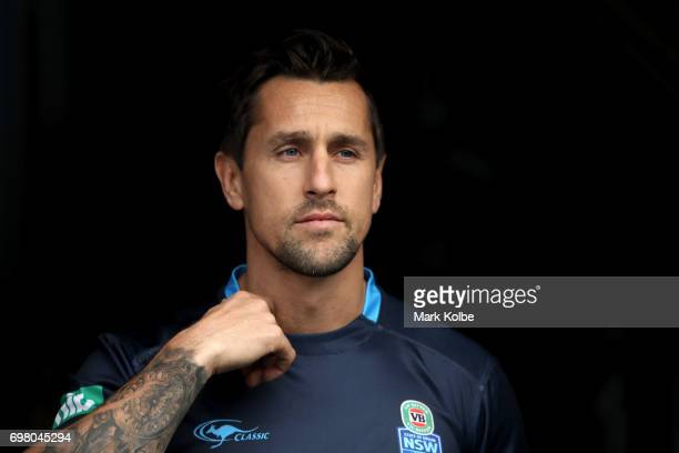 Mitchell Pearce walks out onto the field during a New South Wales Blues State of Origin captain's run at ANZ Stadium on June 20 2017 in Sydney...