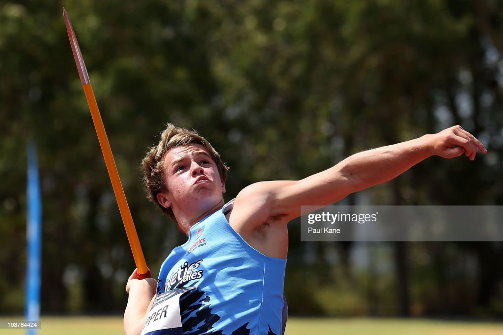 Mitchell Pepper of New South Wales competes in the men's u16 javelin throw during day five of the Australian Junior Championships at the WA Athletics Stadium on March 16, 2013 in Perth, Australia.