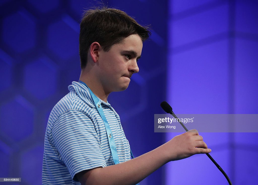 Mitchell Robson of Marblehead, Massachusetts, participates in the finals of the 2016 Scripps National Spelling Bee May 26, 2016 in National Harbor, Maryland. Students from across the country gathered to competed for top honor of the annual spelling championship.