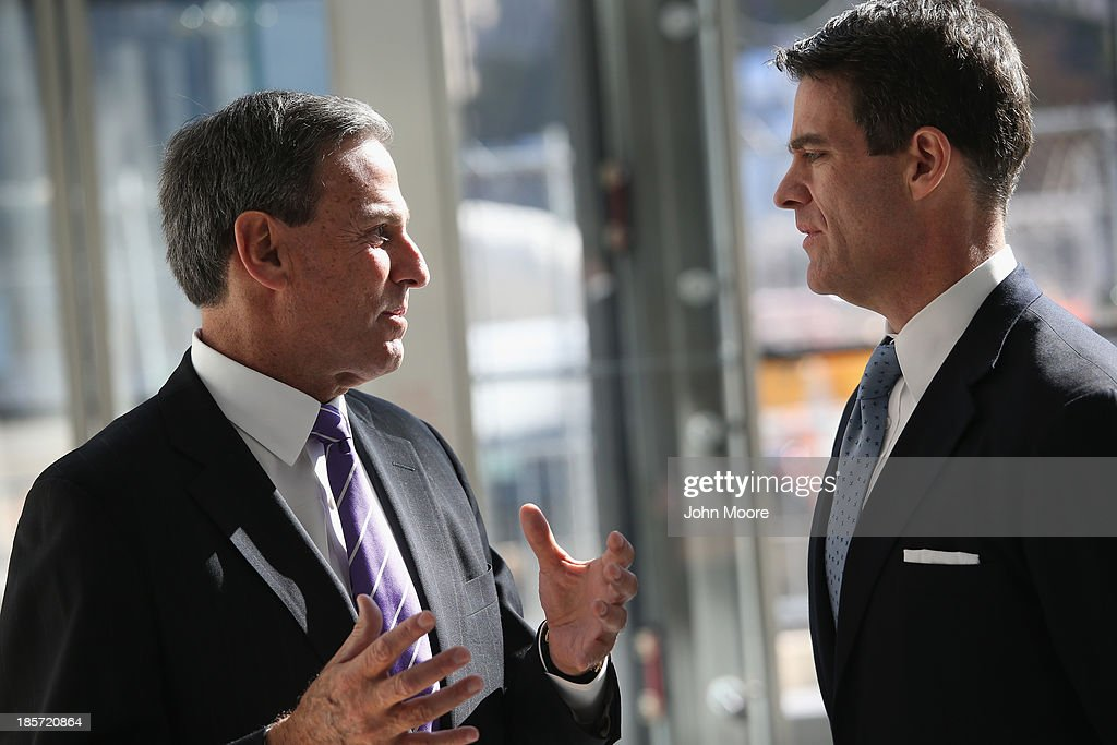 Mitchell Rudin, (L), President/CEO of U.S. Commercial Operations Brookfield Office Properties speaks with Bill Baroni, the Deputy Executive Director of the Port Authority of New York while at the Brookfield Place Pavilion at the west end of the newly-opened World Trade Center West Concourse pedestrian transit connection on October 24, 2013 in New York City. The underground corridor links the World Trade Center PATH Station on the east end of the concourse to Brookfield Place Pavilion (formerly the World Financial Center), and the Battery Park City Ferry Terminal on the west end of the concourse. The 600-foot long marble corridor, designed by Spanish architect Santiago Calatrava and built by the Port Authority, is the first part of the World Trade Center Transportation Hub to open to the public.