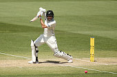 Mitchell Santner of New Zealand bats during day three of the Third Test match between Australia and New Zealand at Adelaide Oval on November 29 2015...