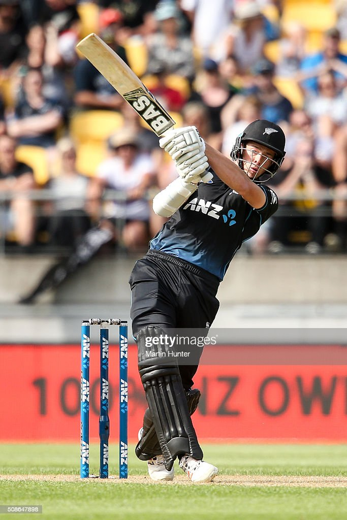 <a gi-track='captionPersonalityLinkClicked' href=/galleries/search?phrase=Mitchell+Santner&family=editorial&specificpeople=12699639 ng-click='$event.stopPropagation()'>Mitchell Santner</a> of New Zealand bats during game two of the one day international series between New Zealand and Australia at Westpac Stadium on February 6, 2016 in Wellington, New Zealand.