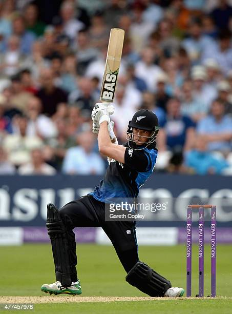 Mitchell Santner of New Zealand bats during the 4th ODI Royal London OneDay match between England and New Zealand at Trent Bridge on June 17 2015 in...
