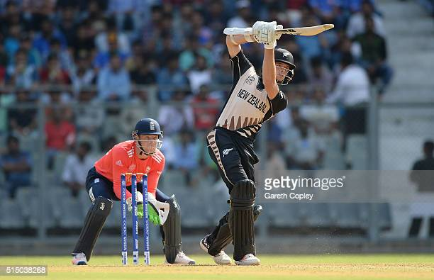Mitchell Santner of New Zealand bats during the ICC Twenty20 World Cup warm up match between New Zealand and England at Wankhede Stadium on March 12...