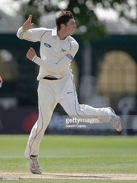 Mitchell Santner of New Zealand bowls during day three of the tour match between Worcestershire and New Zealand at New Road on May 16 2015 in...
