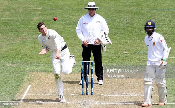 Mitchell Santner of New Zealand bowls during day two of the First Test match between New Zealand and Sri Lanka at University Oval on December 11 2015...