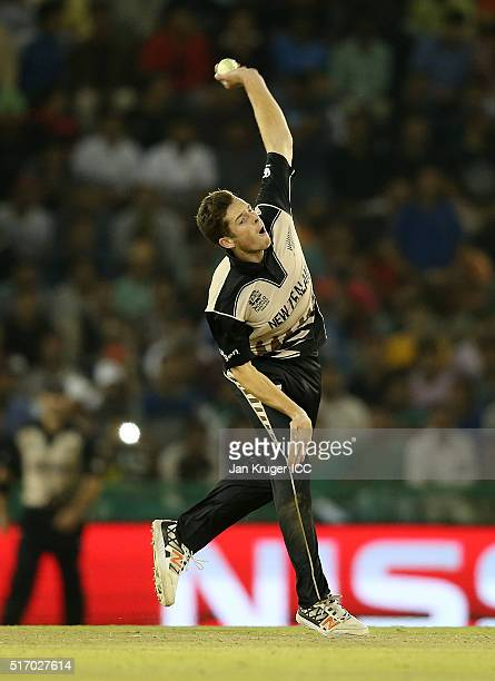 Mitchell Santner of New Zealand bowls during the ICC World Twenty20 India 2016 Super 10s Group 2 match between New Zealand and Pakistan at the IS...