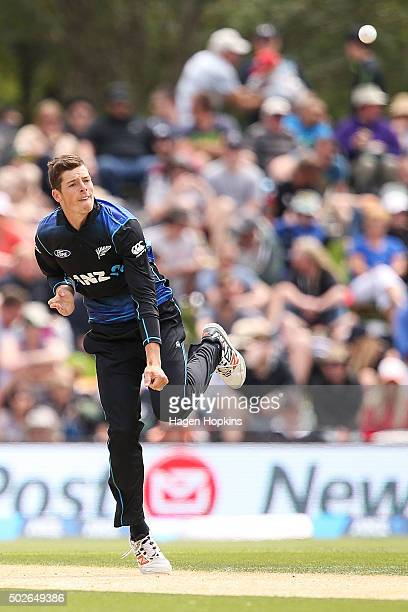 Mitchell Santner of New Zealand bowls during the second One Day International game between New Zealand and Sri Lanka at Hagley Oval on December 28...