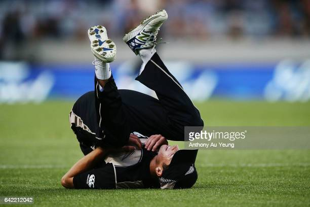 Mitchell Santner of New Zealand drops a catch during the first International Twenty20 match between New Zealand and South Africa at Eden Park on...