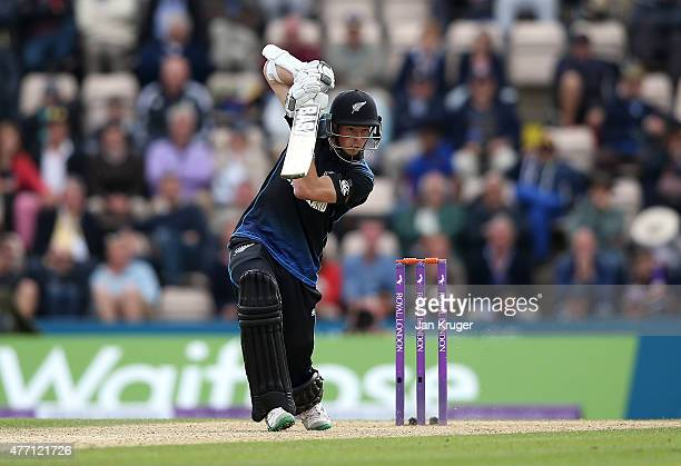 Mitchell Santner of New Zealand hits out during the 3rd ODI Royal London OneDay Series 2015 between England and New Zealand at Ageas Bowl on June 14...