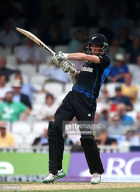 Mitchell Santner of New Zealand hits out during the the 2nd ODI Royal London OneDay Series 2015 match between England and NewZealand at The Kia Oval...