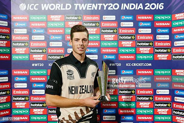 Mitchell Santner of New Zealand poses for the camera with his Player of the Match award during the ICC World Twenty20 India 2016 Group 2 match...
