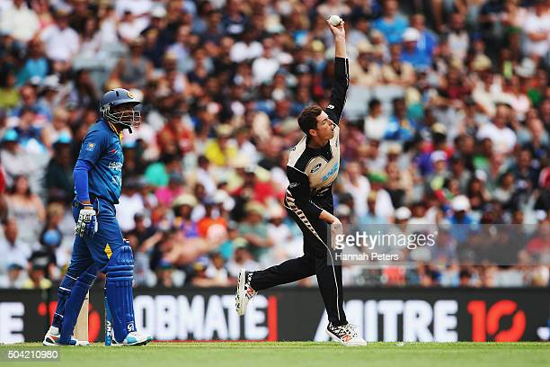 Mitchell Santner of the Black Caps bowls during the Twenty20 International match between New Zealand and Sri Lanka at Eden Park on January 10 2016 in...