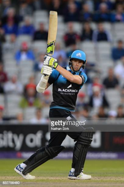 Mitchell Santner of Worcestershire Rapids in action during the NatWest T20 Blast match between Lancashire Lightning and Worcestershire Rapids at Old...