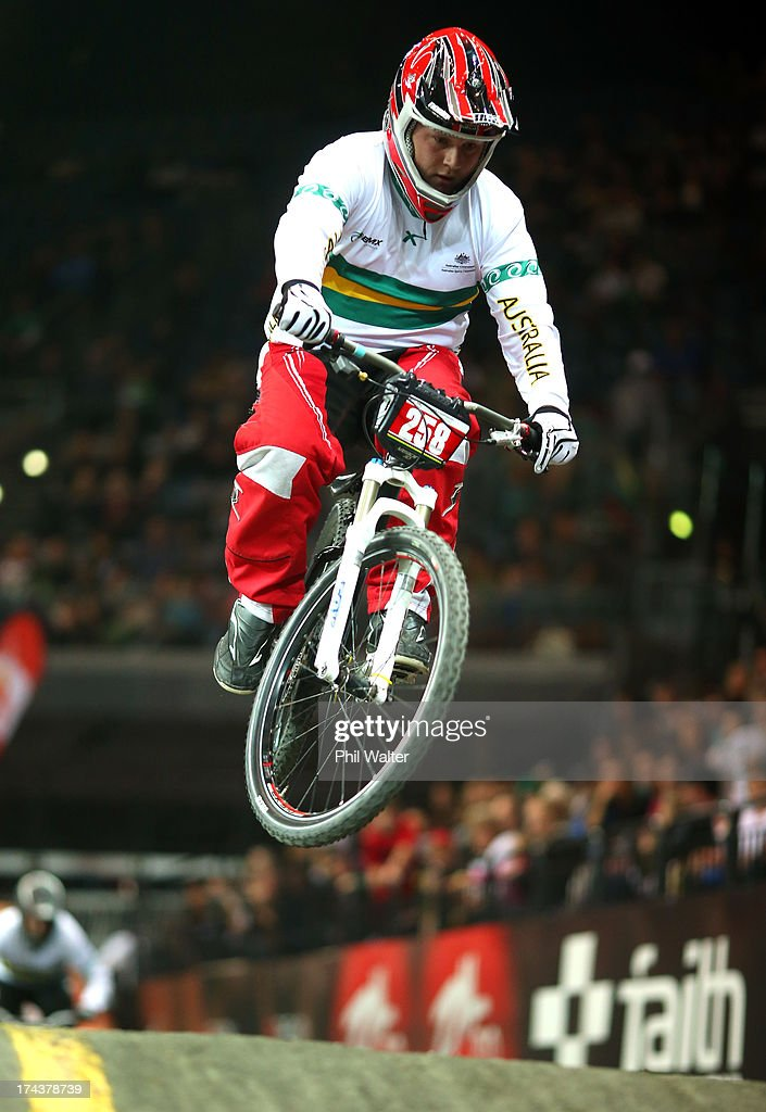 Mitchell Scarr of Australia clears a jump during day two of the UCI BMX World Championships at Vector Arena on July 25, 2013 in Auckland, New Zealand.