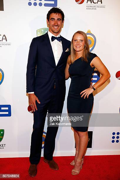 Mitchell Starc and Alyssa Healy arrive at the 2016 Allan Border Medal ceremony at Crown Palladium on January 27 2016 in Melbourne Australia