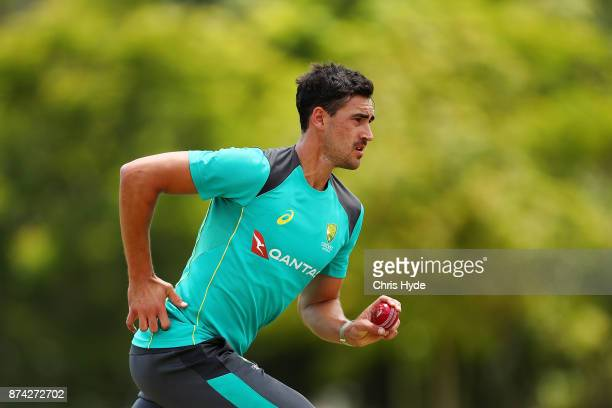 Mitchell Starc bowls during an Australian cricket training session at Allan Border Field on November 15 2017 in Brisbane Australia