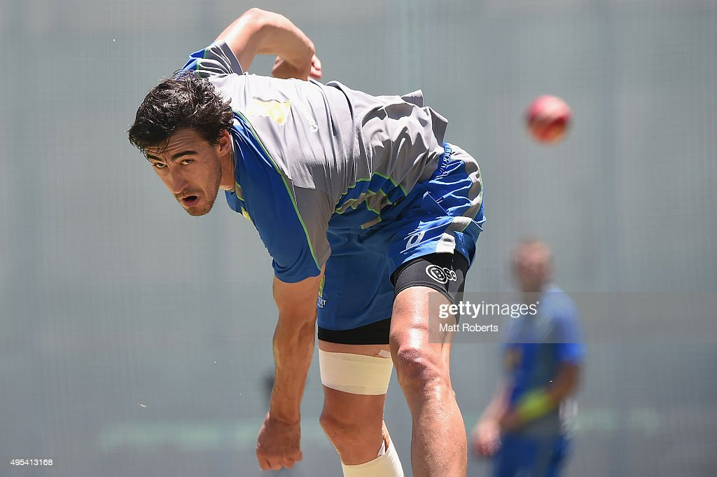 <a gi-track='captionPersonalityLinkClicked' href=/galleries/search?phrase=Mitchell+Starc&family=editorial&specificpeople=6475541 ng-click='$event.stopPropagation()'>Mitchell Starc</a> bowls during an Australian nets session at The Gabba on November 3, 2015 in Brisbane, Australia.