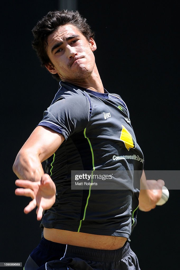 <a gi-track='captionPersonalityLinkClicked' href=/galleries/search?phrase=Mitchell+Starc&family=editorial&specificpeople=6475541 ng-click='$event.stopPropagation()'>Mitchell Starc</a> bowls during an Australian training session at The Gabba on January 17, 2013 in Brisbane, Australia.