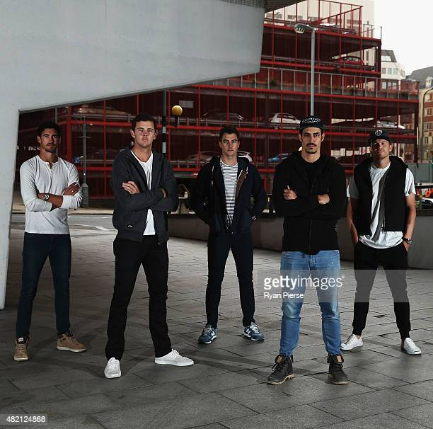 Mitchell Starc Josh Hazlewood Pat Cummins Mitchell Johnson and Peter Siddle of Australia pose during an Australian Fast Bowlers Portrait Session on...